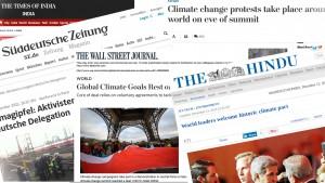 Screenshots der Washington Post, der Indian Times, der Süddeutschen Zeitung und des Walllstreet Journals sind in verschiedenen Winkeln zusammengestellt. Alle Artikel handeln vom Klimagipfel 2015.
