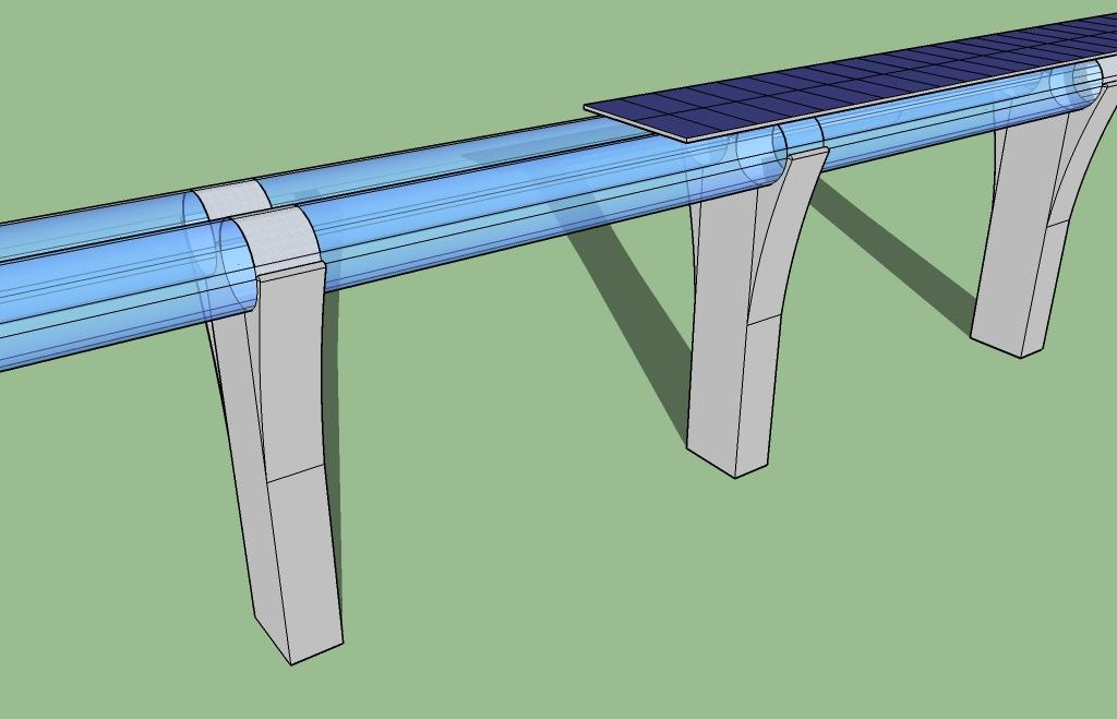 Eine 3D Skizze der Infrastruktur. Die Röhren sind für hier transparent. (Source: Hyperloop One)
