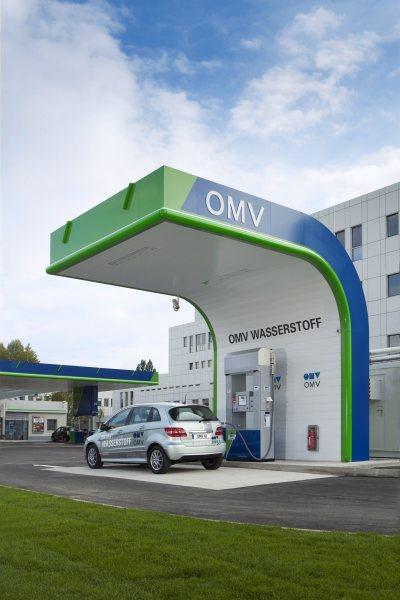 Wasserstofffahrzeug bei der Betankung an einer OMV Wasserstofftankstelle Bildquelle: © OMV