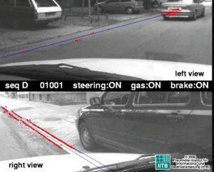 Bilder, die die Kameras aufnehmen, werden mit bestehenden Kartenelementen (blau) überlagert und den dazugehörige Bildkontrasten (rot) verdeutlicht. Es findet ein Abgleich statt. Die Leiste in der Mitte zeigt den Zustand des Fahrzeugs an.