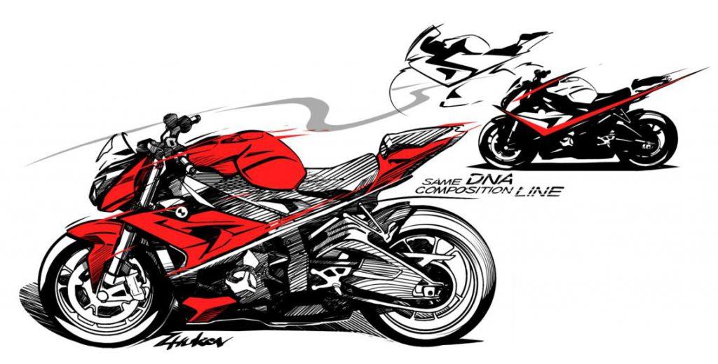 Eine Skizze der späteren BMW S 1000 R (Quelle: BMW Motorrad)