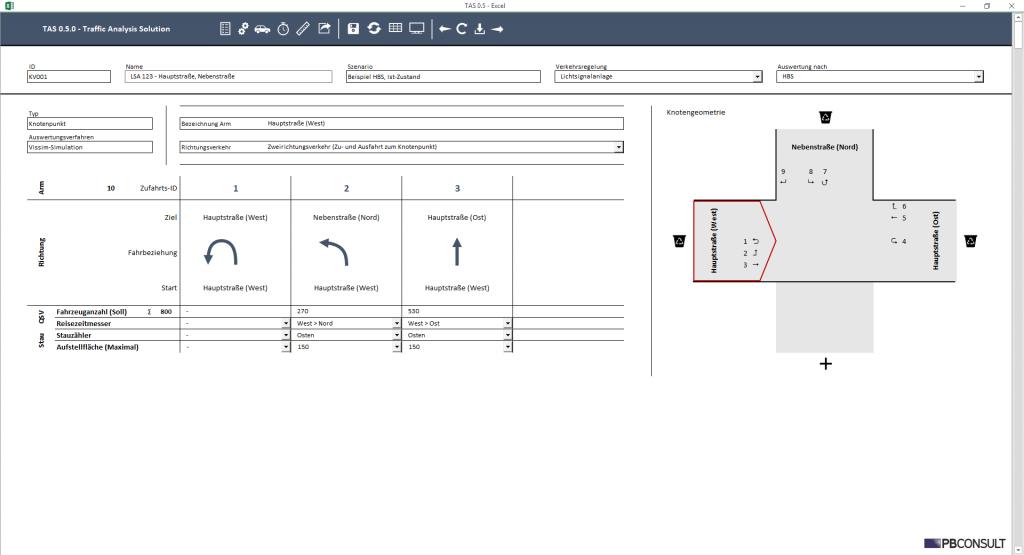 """Das von Stefan Bluwas entwickelte Programm """"TAS"""", welches die Auswertung von Verkehrssimulationen deutlich vereinfacht. Foto: Eigene Screenshots."""