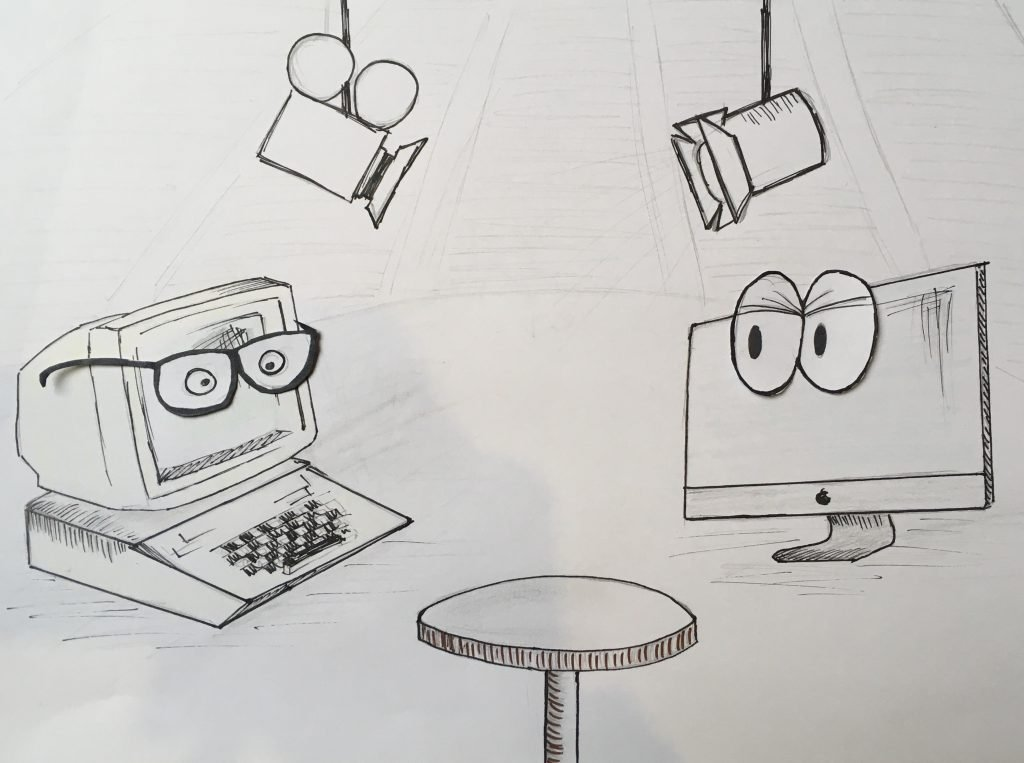 Talkshow mit dem Apple 2e und dem iMac Pro (Foto: Denise Heller).