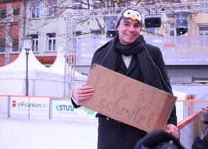 Das Eis schmilzt! Deutliches Statement gegen den Klimawandel von Henning Zimmermann. (Foto: Ronja Dörr)
